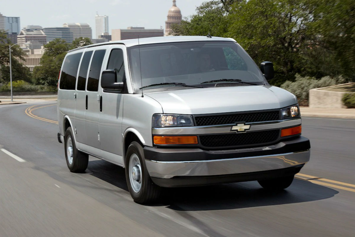 Front exterior view of a white 2017 Chevy Express 3500