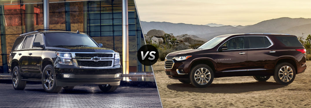 """Front exterior view of a black Chevy Tahoe on the left """"vs"""" driver side exterior view of a maroon Chevy Traverse on the right"""
