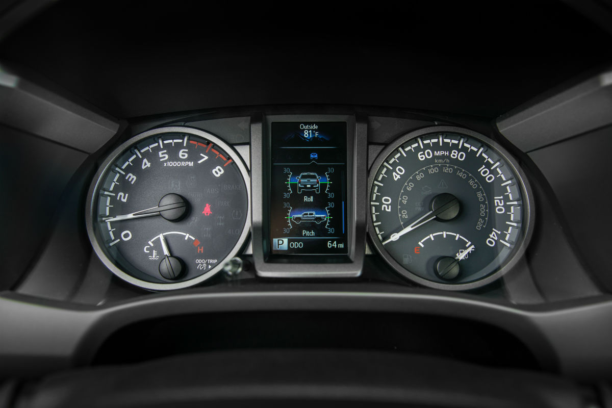 Driver information cluster of the 2017 Toyota Tacoma
