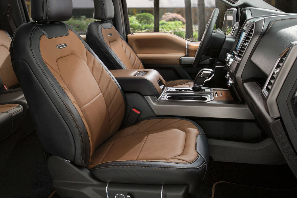 Side view of the front seats in the 2017 Ford F-150