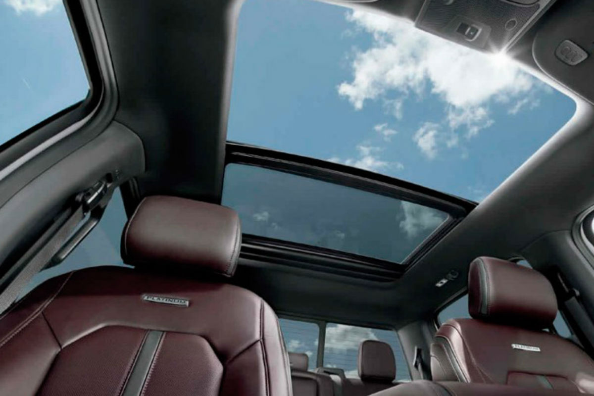 Looking out the available moon roof of the 2017 Ford F-150