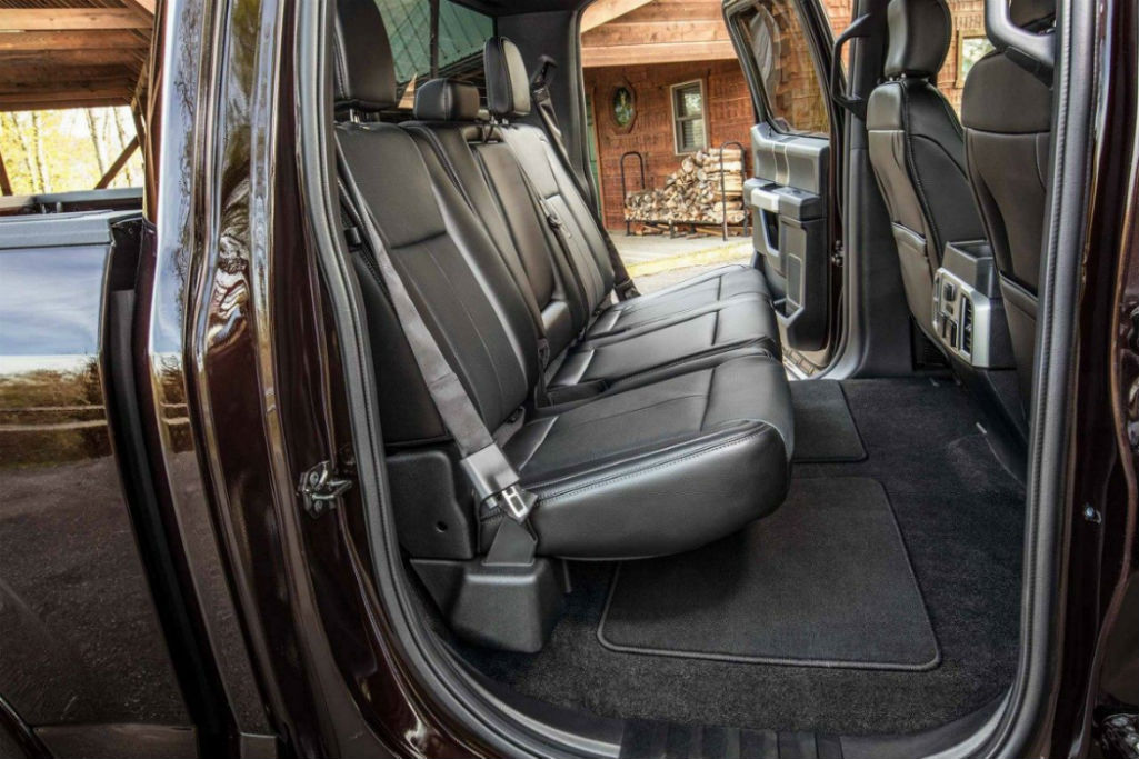 Side view of the rear seats in the 2018 Ford F-150