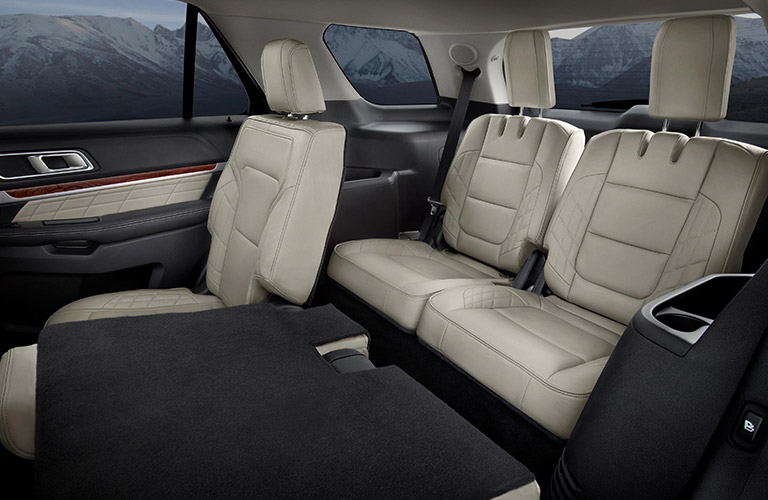 seats folded down in the Ford Explorer