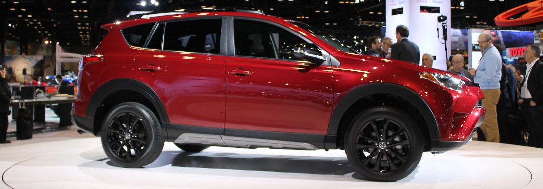Ruby Flare Pearl 2018 Toyota RAV4 Adventure exterior side displayed at 2017 Chicago Auto Show