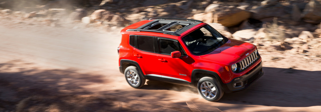 2018 Jeep Renegade in red off roading