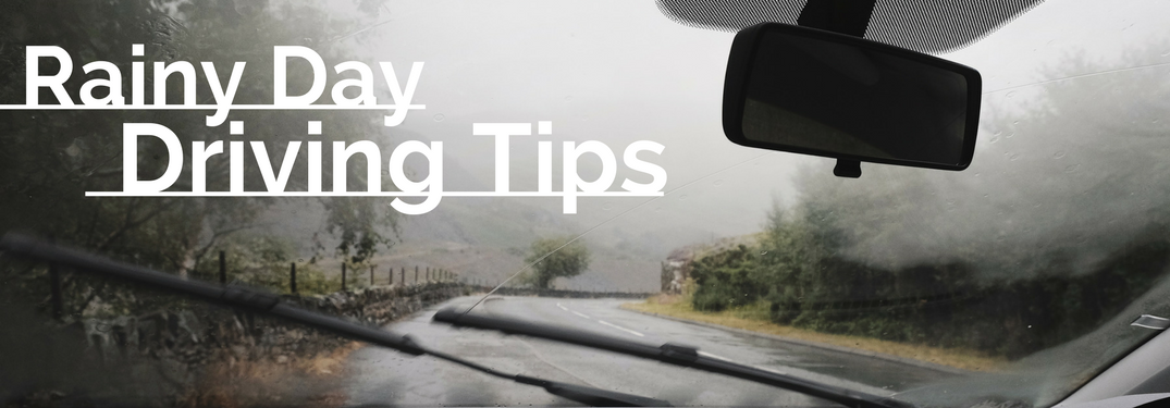 """Rainy Day Driving Tips"" with a wet windshield in background"