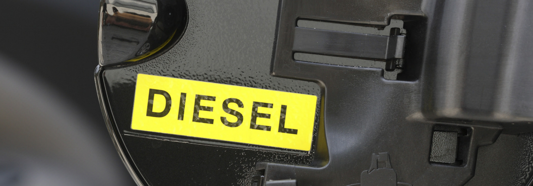 Closeup of the inside of a diesel gas tank lid