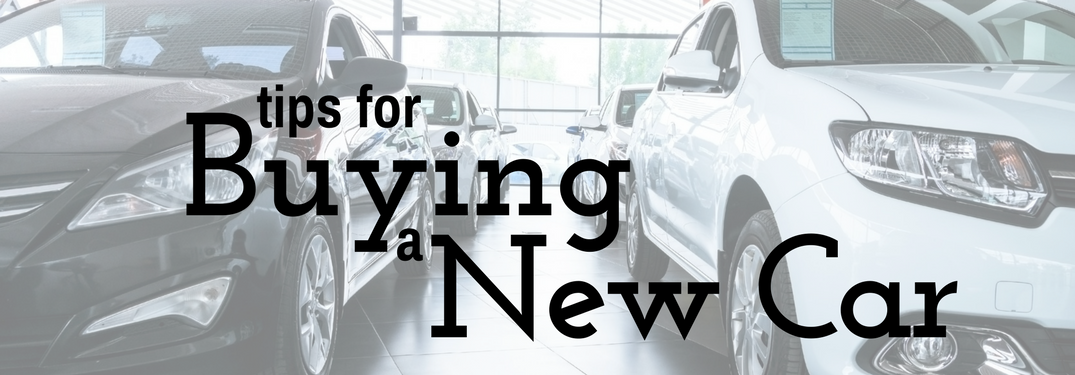 tips for Buying a New Car over a showroom background