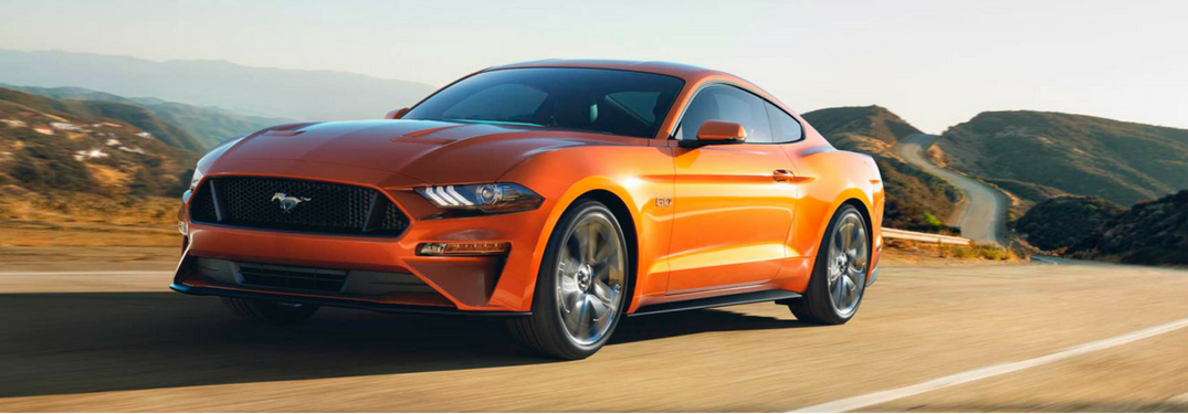 front side view of 2018 Ford Mustang in orange