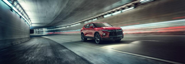 2019 Chevrolet Blazer driving down tunnel