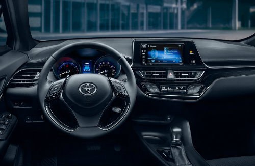 2018 Toyota C-HR Steering wheel interior all black