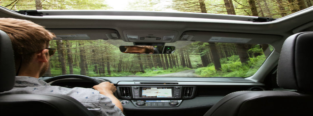 2018 Toyota RAV4 Interior Shot Facing Out Towards Woods