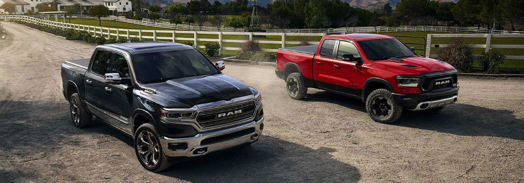2019 Ram 1500 Engine Options and Specs with image of two trucks on a farm