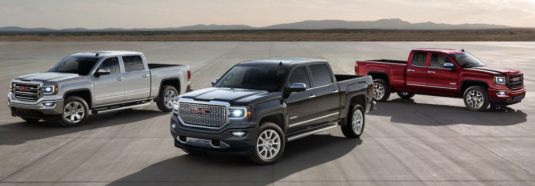 2018 GMC Sierra 1500 Engine Options and Performance with image of three GMC Sierra models