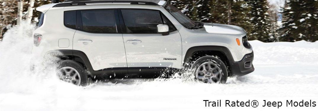 What is the Jeep Trail Rated® Badge? with image of a 2018 Jeep Renegade in the snow