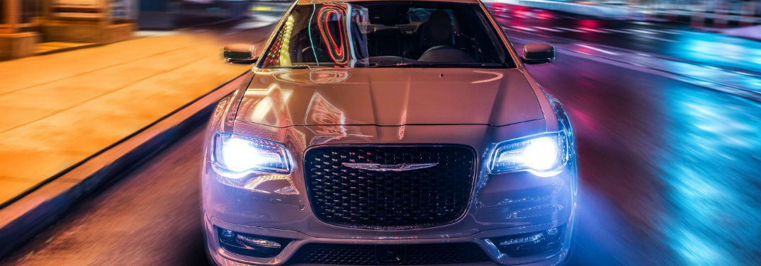 2019 Chrysler 300 Color Options with image of the car driving at night towards the camera