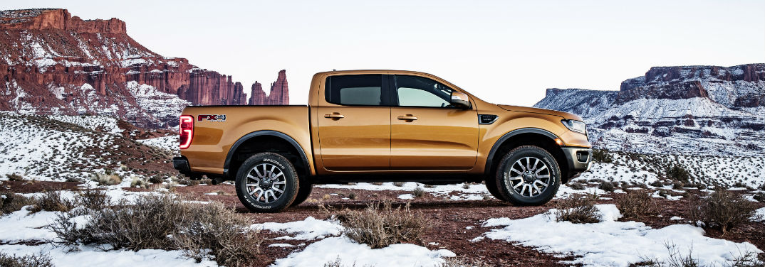 First Look at the All-New 2019 Ford Ranger with image of a 2019 Ranger parked in snowy mountain area
