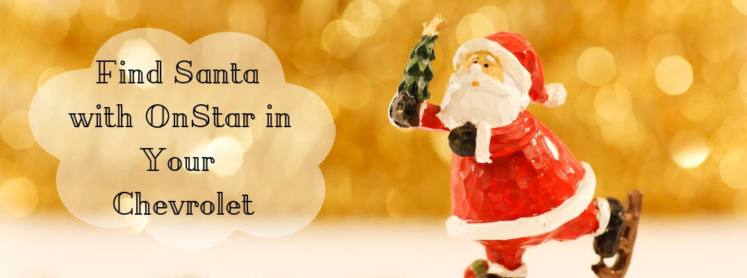 Clay Santa in front of gold background with Find Santa with OnStar in Your Chevrolet black text
