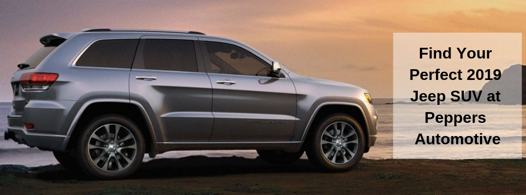 Silver Jeep Grand Cherokee with Find Your Perfect 2019 Jeep SUV at Peppers Automotive black text