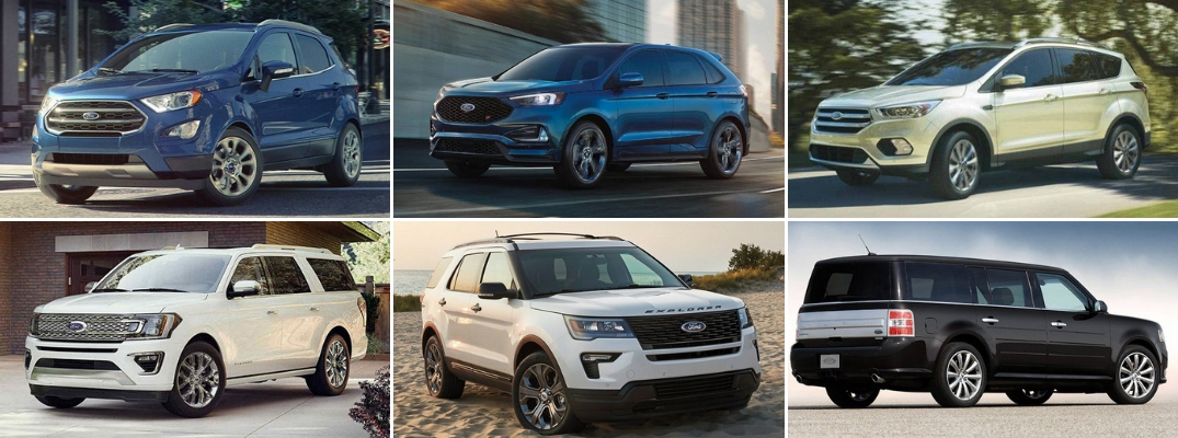 Grid of 2019 Ford SUV and Crossover models