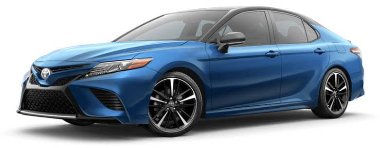 Blue Streak Metallic with Midnight Black 2019 Toyota Camry