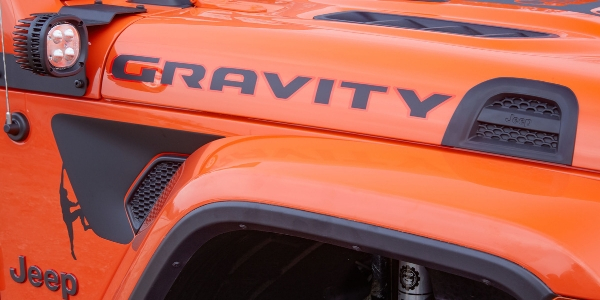 Badging on orange Jeep Gladiator Gravity