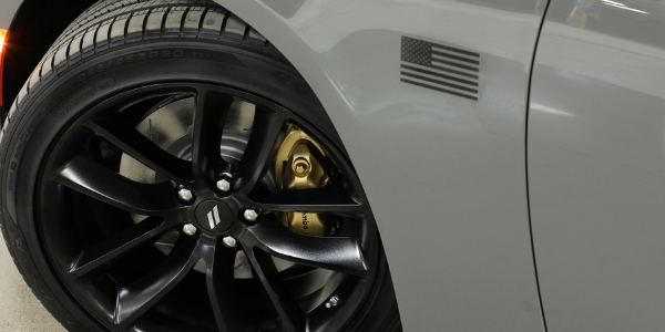 Closeup of wheel on Dodge Charger Stars and Stripes