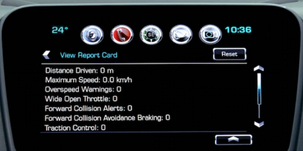 Closeup of report card on Chevrolet infotainment screen