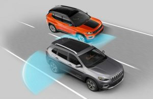 Diagram of the 2019 Jeep Cherokee using the Blind Spot Monitoring safety system