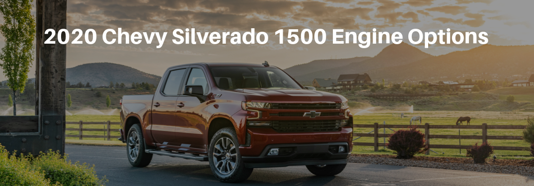A red 2020 Chevy Silverado 1500 parked in front of a field with mountains in the background with 2020 Chevy Silverado 1500 Engine Options typed above
