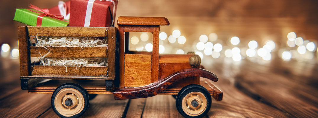 An old-fashioned wooden toy truck