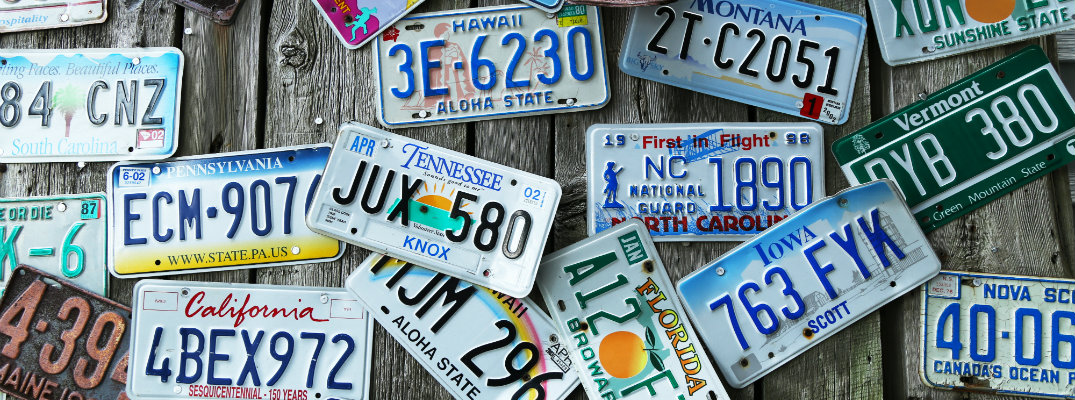 Collage of license plates from different states