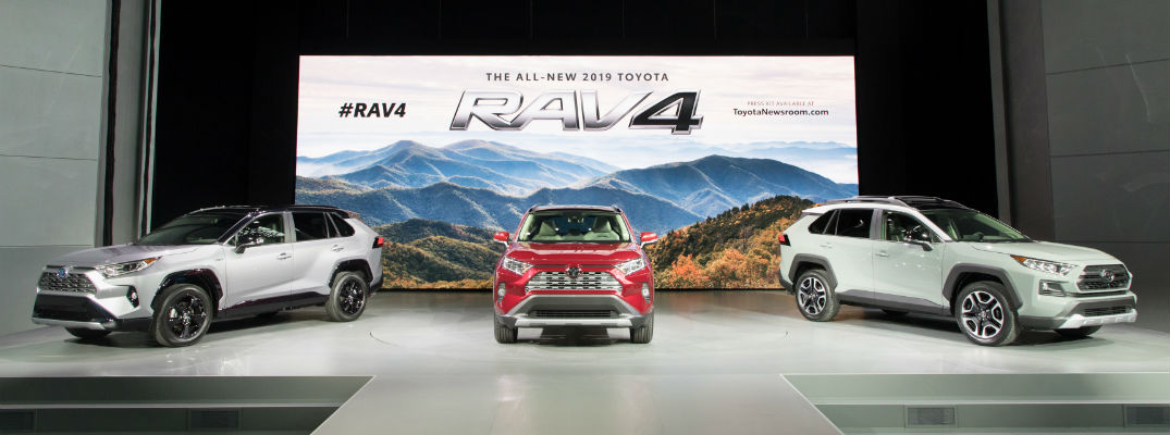 A photo of three 2019 RAV4 models on display at the New York International Auto Show.