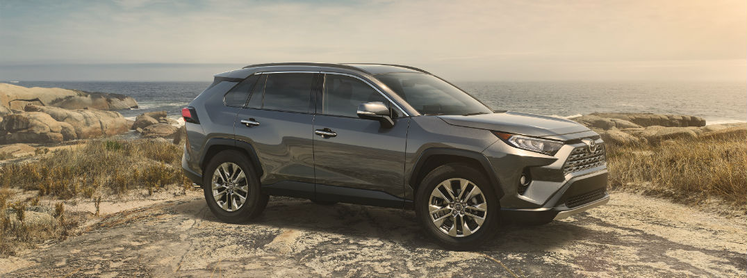 A right profile photo of the 2019 Toyota RAV4 parked on a cliff.