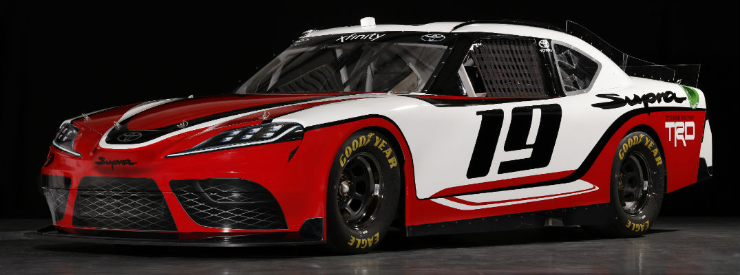 A front left quarter photo of the Toyota Supra that will be used by NASCAR teams