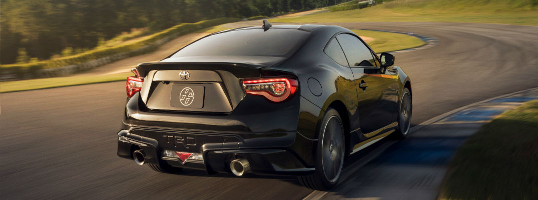 A rear quarter photo of the 2018 Toyota 86 on a race track.