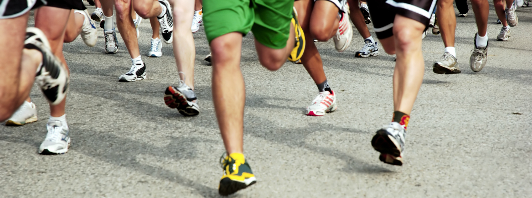 Group of People Racing, Focus on Legs and Feet