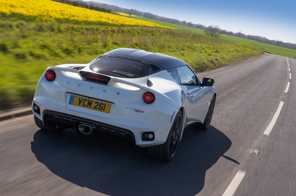 rear view of the 2018 Lotus Evora 400 in white