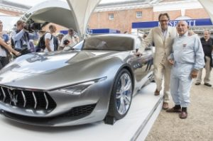 2020 Maserati Alfieri exterior profile with people standing next to it