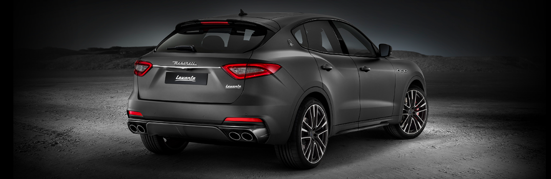 rear view of gray maserati levante