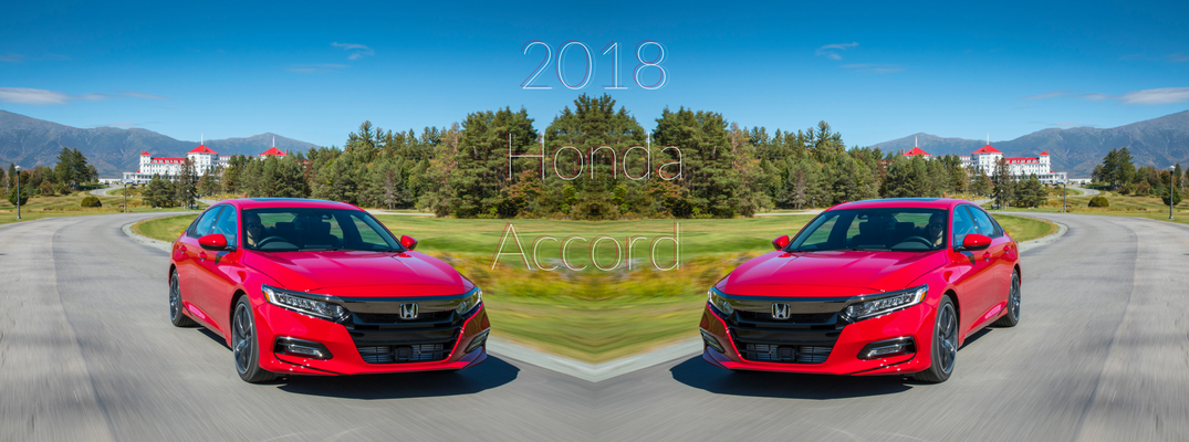 Mirrored Image of 2018 Honda Accord in Radiant Red Metallic in front of woodlands