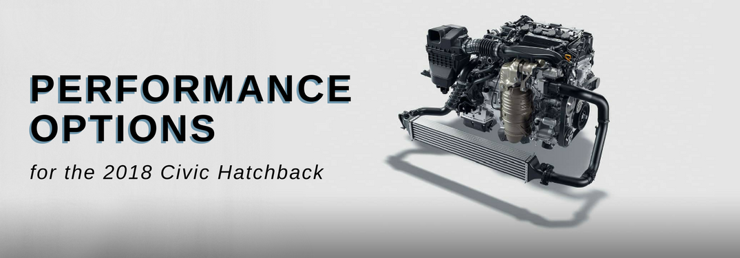 "engine on white background with text saying ""Performance Options for the 2019 Civic Hatchback"""