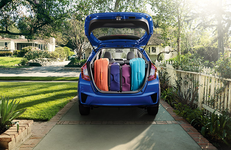 Honda Fit trunk filled with luggage