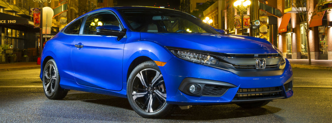 2018 Honda Civic Coupe in Blue Front View