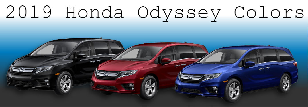 2019 Honda Odyssey displayed in three colors