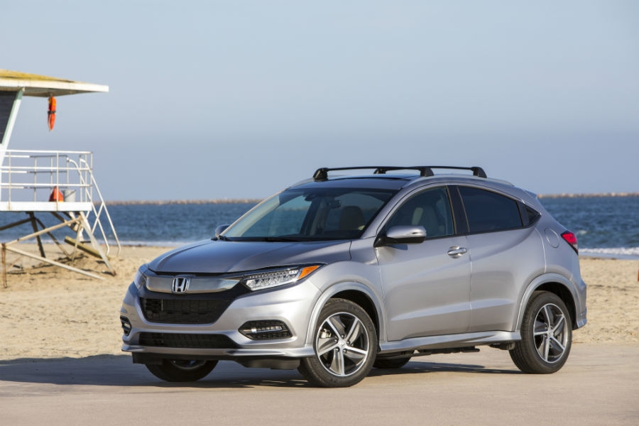 A front-left quarter photo of the 2019 Honda HR-V parked by a beach.