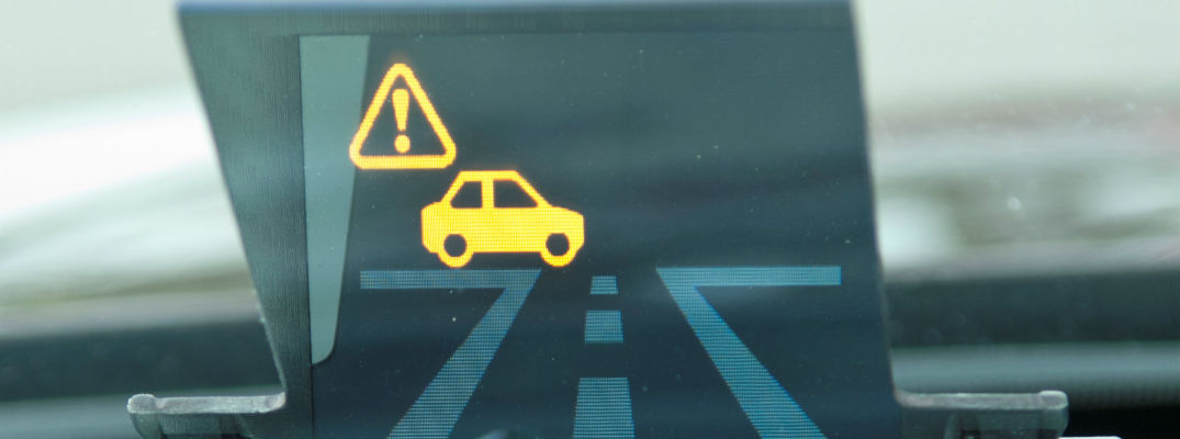 A photo of the a visual notification used by the Honda Smart Intersection system.