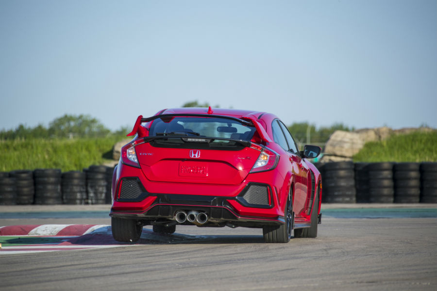 A rear photo of the 2019 Honda Civic Type R.