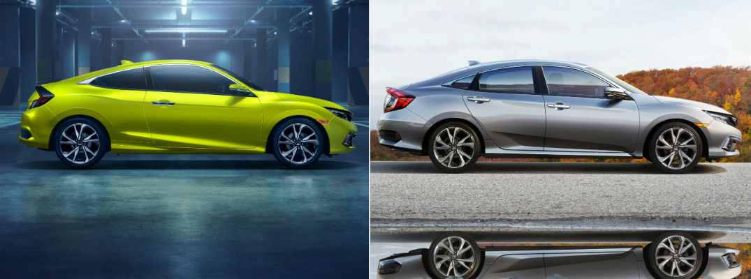 A side-by-side comparison of the 2019 Honda Civic Sport coupe and sedan versions.