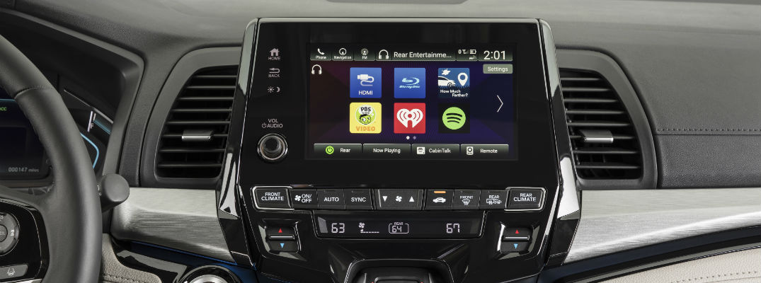A photo of the touchscreen interface in an internet-equipped Honda vehicle.